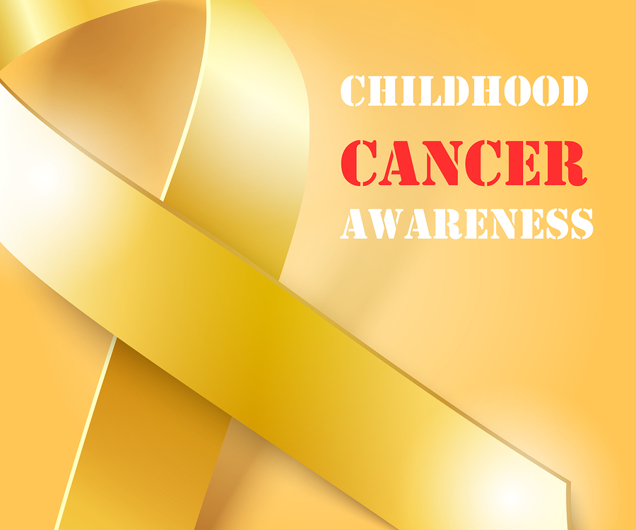 Childhood Cancer Awareness concept , golden background with gold ribbon, vector illustration